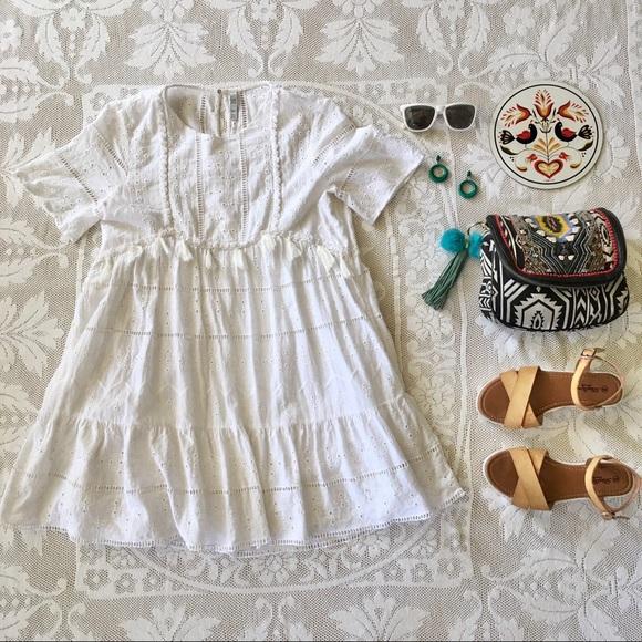 Zara Dresses & Skirts - Zara 100% cotton white eyelet boho babydoll dress